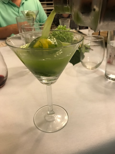 tequila on the round- an ice sphere frozen with jalapeno, cucumber and a cucumber flower